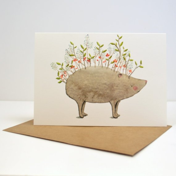 Hedgehog Card by Sara Rhys