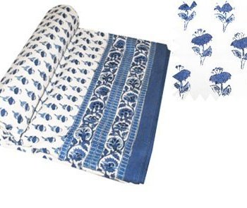 Block Printed Throws Blue Bootie