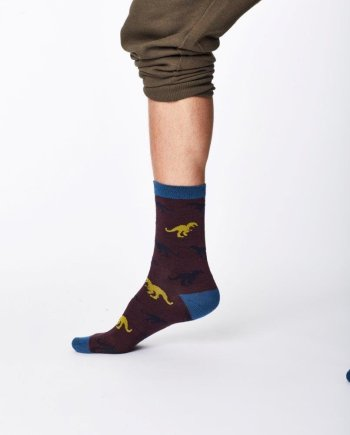 Thought Dinosaur Sock Aubergine