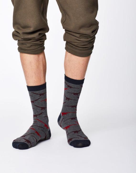 Thought Dinosaur Sock Mid Grey