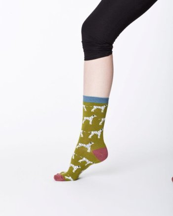 Thought Dalmation Sock Olive