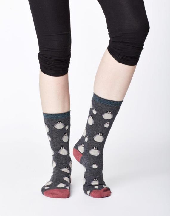 Thought Penguin Sock Dark Grey