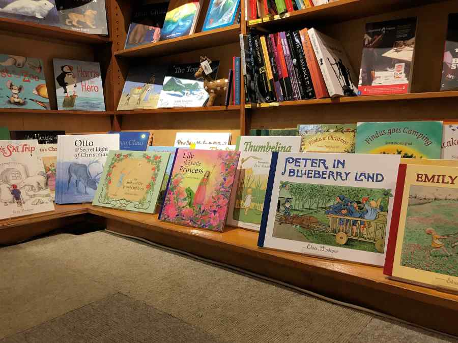 Children's Book section upstairs in the shop in Totnes Devon