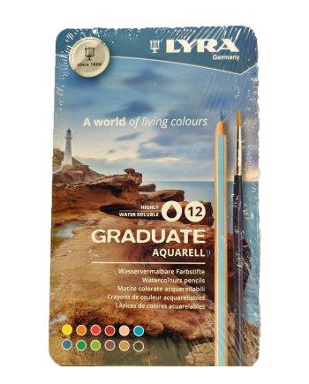 Lyra Graduate Aquarell 12 Tin Pencil Set