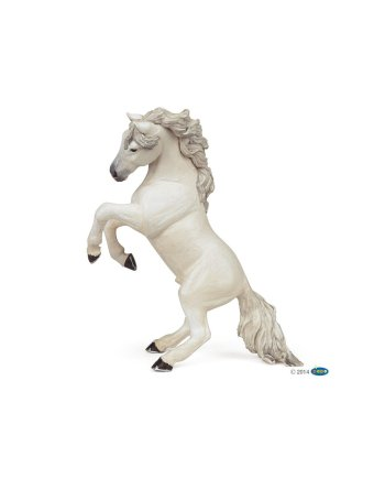 Papo White Reared Up Horse, Figurine