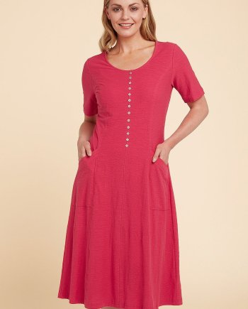 Cotton Slub Jessie Dress - Watermelon, by Adini
