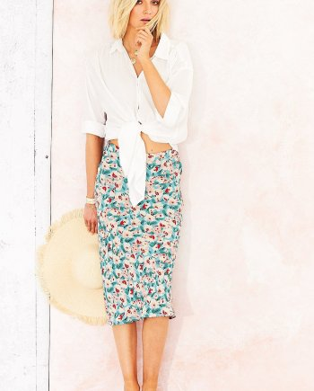 Ella Print Lindsey Skirt - Soft Turquoise, by Adini