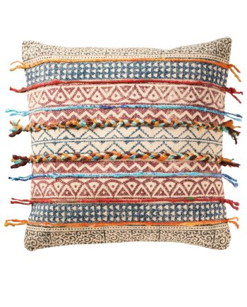 Namaste Tribal Indian Embroidered Cushion Cover- Horizontal Design