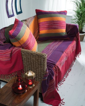 Namaste Stripe Cotton Bedcover - Double Size 225 x 250cm