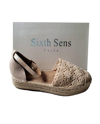 Sixth Sens Crochet Flatform Espadrille With Ankle Ties
