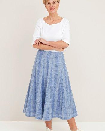 Denim Voile Stripe Patricia Skirt - Denim