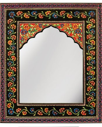 Namaste Black Floral Hand Painted Wall Mirror