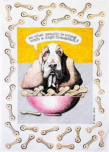 Simon Drew Dogs Breakfast Tea Towel