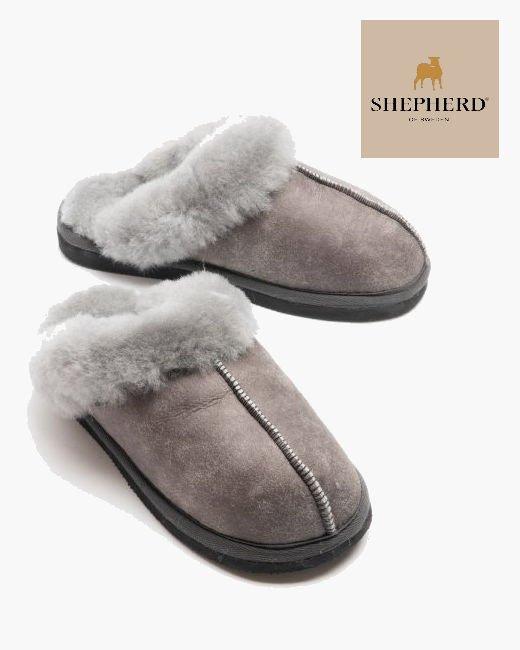 Shepherd Jessica Ladies Hard Sole Sheepskin Slipper Antique Grey