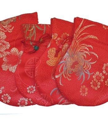 Small Satin Drawstring Bag Red