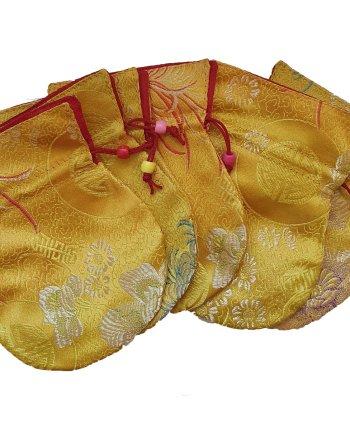 Small Satin Drawstring Bag Yellow