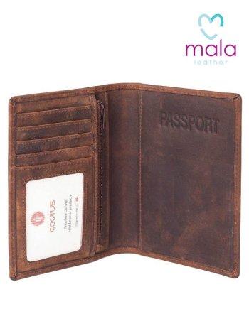 Mala Cactus Leather Passport Holder