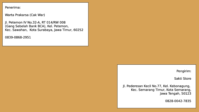 contoh alamat paket