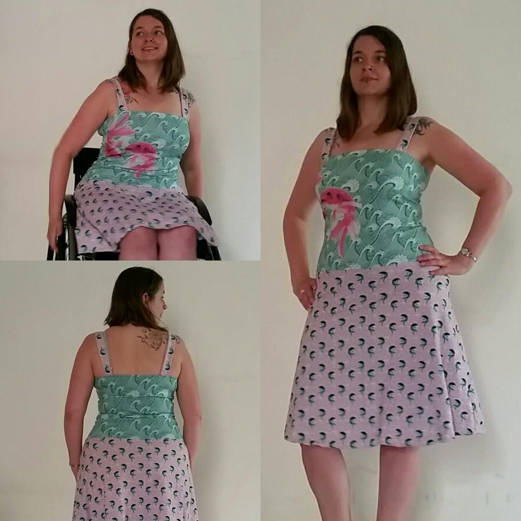 tricot jurk vissen print
