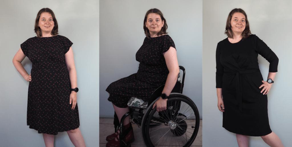 3 foto's met een zwarte jurk op knielengte. Eerste met korte mouw en kleine kersenprint, tweede met korte mouw en kersenprint zittend in rolstoel, derde staand met jurk met driekwart mouw.