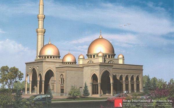نمای مسجد دارالایمان مارکام که توسط یک هنرمند طراحی شده