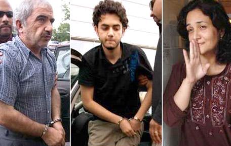 از چپ به راست: محمد شفيع، حامد شفيع و طوبا محمد يحيي عاملان جنايت ناموسي