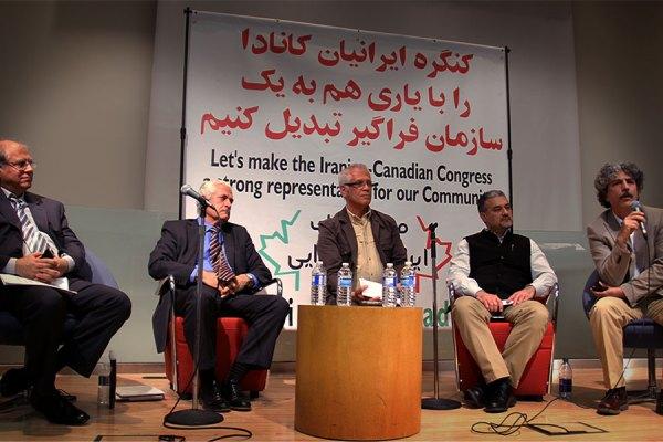 از راست به چپ: سعید حریری، مهرداد آرین نژاد، محمد تاج دولتی، منوهر میثاقی و حسین زرشکیان