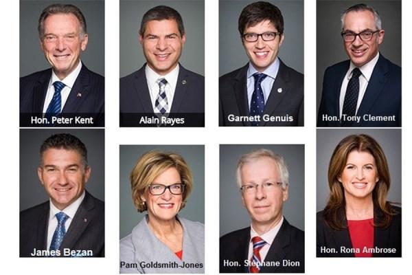 از راست ـ بالا: تونی کلمنت، گارنت جنویس،  الن رییز، پیتر کنت،  از راست ـ پایین:  رونا امبروز (رهبر موقت حزب محافظه کار) و جیمز بزن  (آخر سمت چپ)  در دو هفته گذشته در پارلمان کانادا در مورد ایران صحبت کرده اند.  استفن دیان وزیر امور خارجه و پم گلداسمیت جونز معاون پارلمانی او هدف سئوال نمایندگان فوق بودند