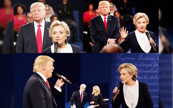 در مناظره دوم دو کاندیدای ریاست جمهوری آمریکا، دانلد ترامپ در میان جملاتش اغلب نفس های پرصدا می کشید و در چندین مورد در پشت سر هیلاری کلینتون به او خیره  می شد. اندرسون کوپر خبرنگار سی ان ان و مارتا ردث خبرنگار ABC ، گردانندگان مناظره در عکس گنجانده شده است.