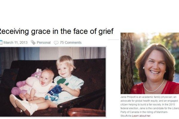 تصویری از وبلاگ جین فیلپات که در آن داستان مرگ دخترش را برای اولین بار در 11 مارچ 2013 منتشر کرد