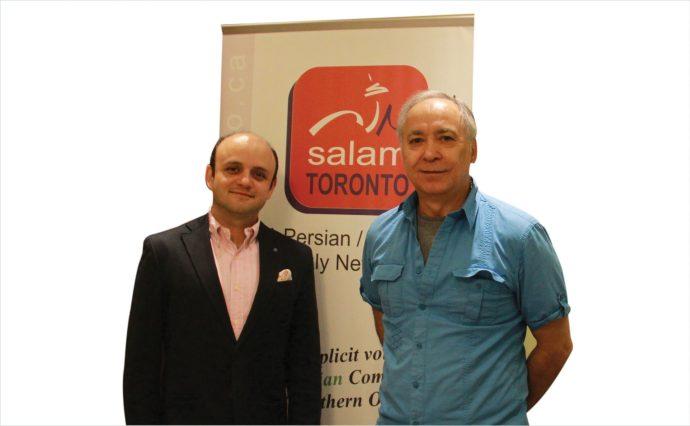 مازیار حیدری (چپ) بهمراه محسن تقوی(راست) در دفتر سلام تورنتو