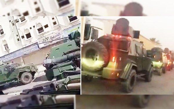 دو صحنه از ویدیو هایی که در رسانه های جمعی منتشر شده که بنظر میرسد نفربر زرهی Gurkha  ساخت شرکت Terradyne Armored Vehicles Inc در نیومارکت باشد.