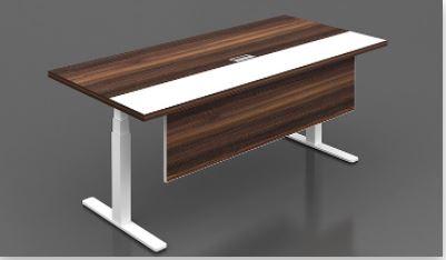 Dark Ash Wood Height Adjustable Desk
