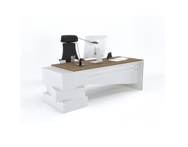 Executive Office Desk With Side Rack