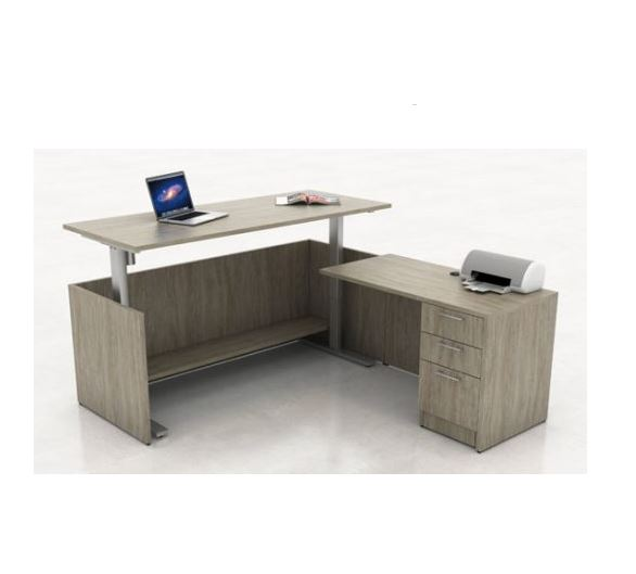Height Adjustable L-Shape Desk