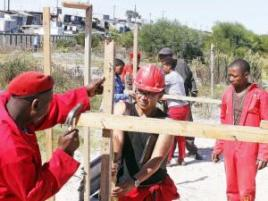 EFF Western Cape leader Nazier Paulsen led a group of people to occupy land next to the Nolungile train station in Khayelitsha. Photo: Bheki Radebe