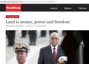 Land is the economy. All over the world, land is a critically sensitive issue because there is a connection between land, economic power and real freedom, writes Dr Motsoko Pheko as he examined the implications of President Jacob Zuma's proposed Regulation of Land Holdings Bill in South Africa.