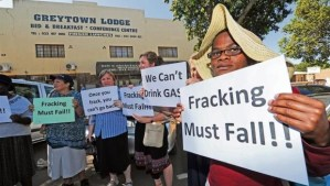 There was toyi-toyiing and a picket outside the Greytown Lodge, the venue where a public consultation meeting was expected to be held to discuss the exploration of oil and gas. (Ian Carbutt)