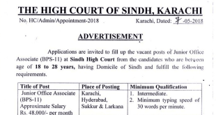 Sindh High Court Junior Court Associate Salary In Pakistan