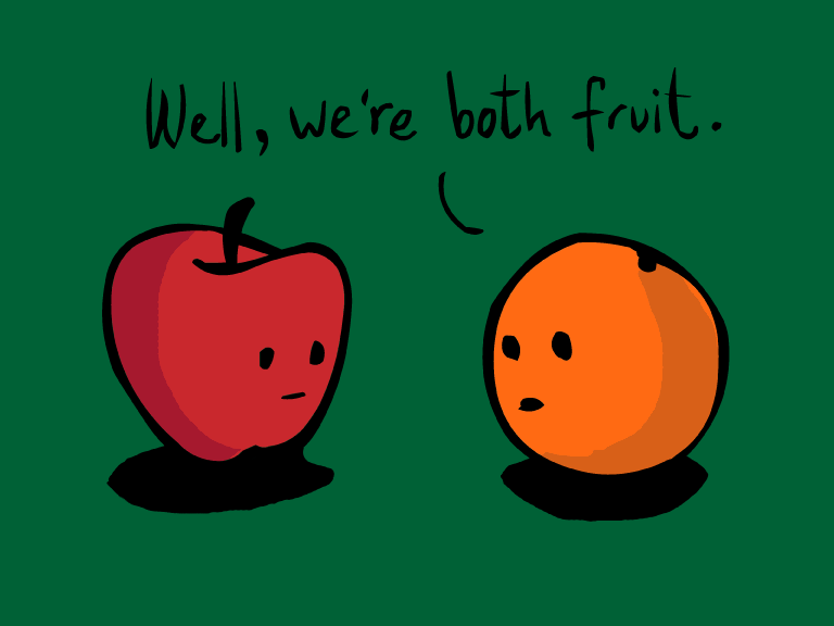 Image result for comparing apples to oranges