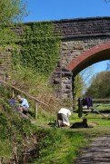 Volunteers working on repairing the steps