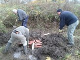 Volunteers working on hibernaculum