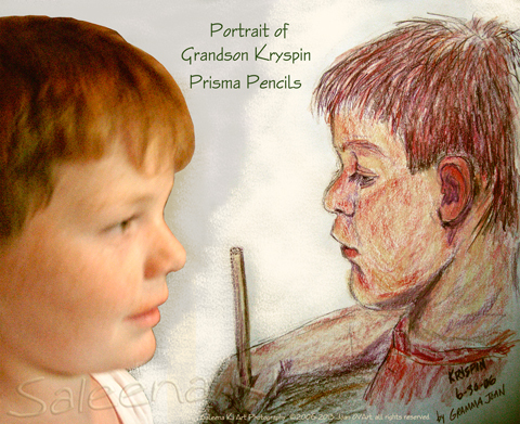 2006-07-02 Portrait of Grandson Kryspin in Prisma Pencils. He stayed with me after the family reunion and we did art together. I feel like this shares his passion for art. He loves nature and is a very gentle soul. He is very quiet so I haven't quite gotten to know him yet.