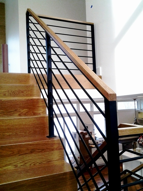 Wood Capped Wrought Iron Railing Salem Iron Works | Wood And Rod Iron Railing | Wooden | Dark Stained | Wrought Iron | Pipe | Simple Modern