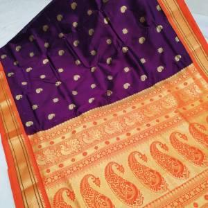 Tana Silk Semi Maharani Paithani Saree – Purple