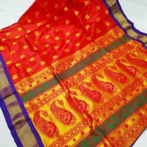 Tana Silk Semi Maharani Paithani Saree – Apple Red