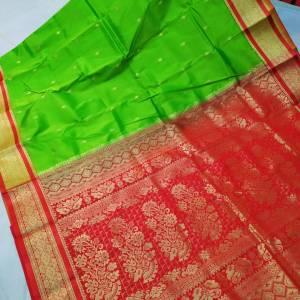 Semi Silk Kanjeevaram Saree – Lime Green