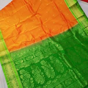 Semi Silk Kanjeevaram Saree – Orange