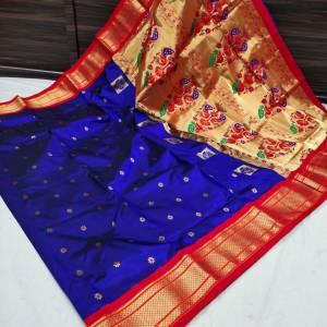 Pure Silk Kadiyal Paithani Saree (Range-2)