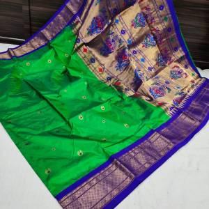 Pure Silk Kadiyal Paithani Saree (Range-4) – Green